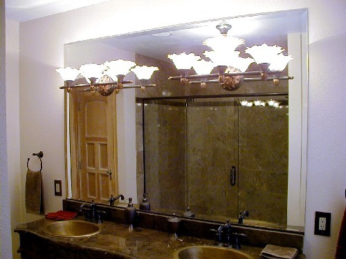 Beveled Vanity Mirror with Lights thru Mirror