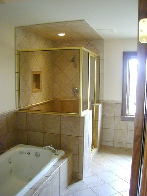 Gold Framed Shower Enclosure with Gronze Glass