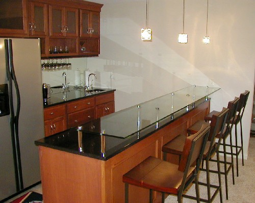 "1/2 Glass Bar Top w/ 6"" Polished Chrome Stand Offs"