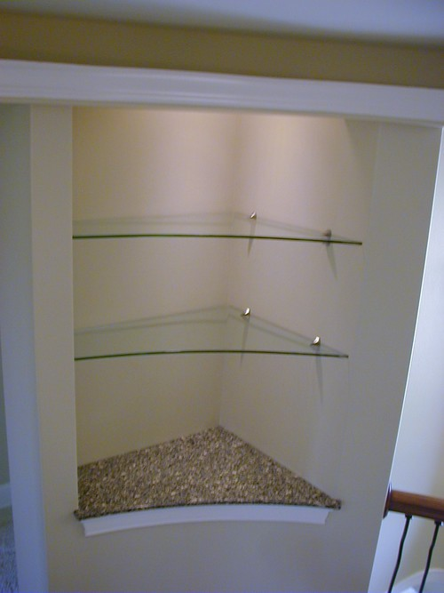 "3/8"" Glass Shelves with Brushed Nickel Shelf Clamps"