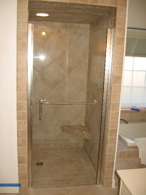 Brushed Nickel continuous Hinged Frameless Door with Towel Bar-Pull Handle