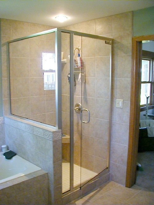 Brushed Nickel Framing with Clear Frameless Glass Door