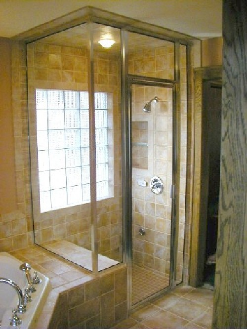 Brushed Nickel Framed Steam Shower with Fixed Transom and Clear Glass