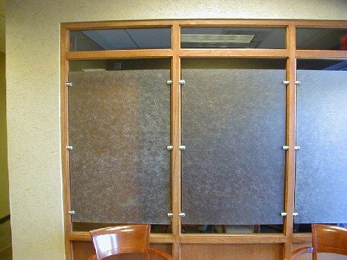 "1-1/4"" brushed nickel standoffs / polycarbonate translucent panels"